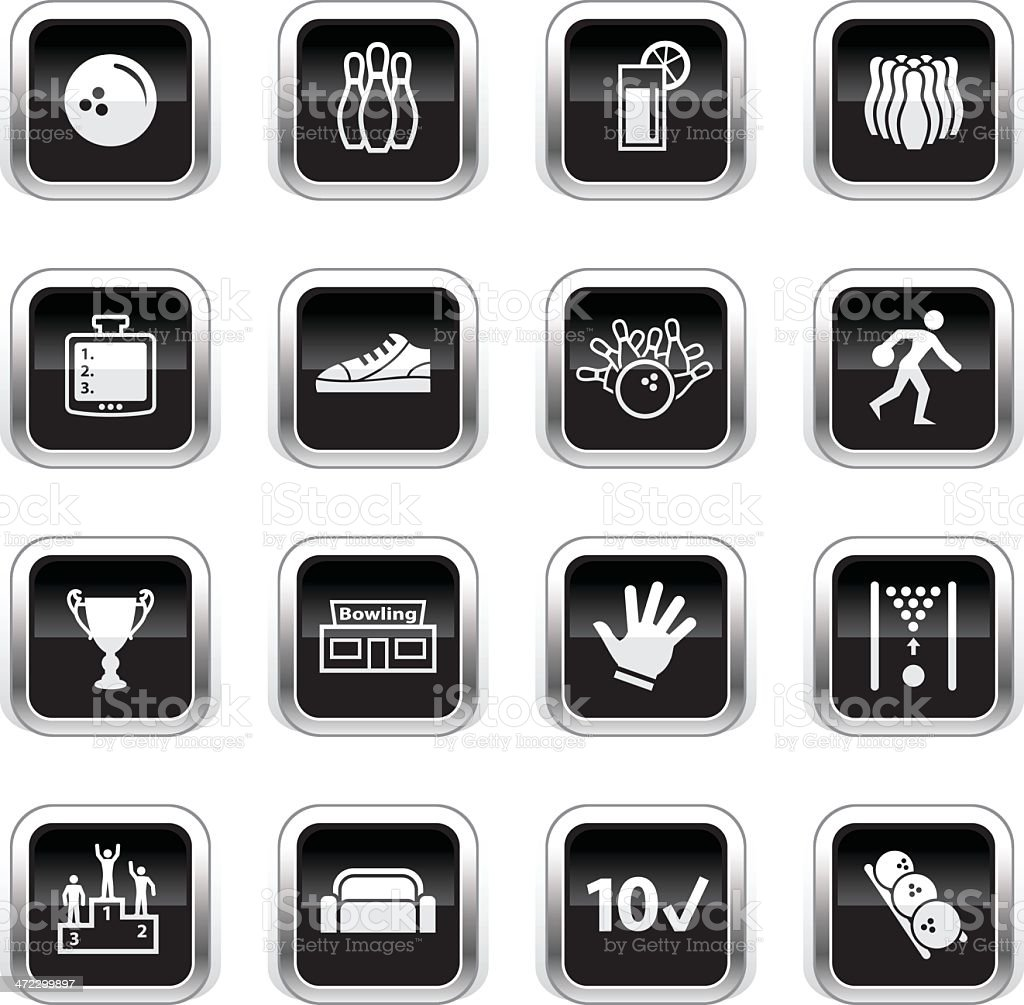 Supergloss Black Icons - Bowling royalty-free stock vector art