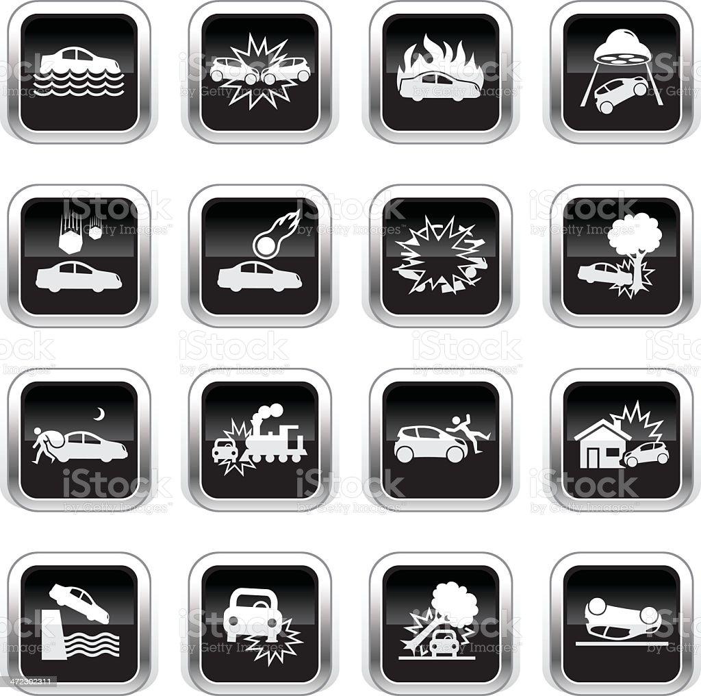 Supergloss Black Icons - Car Disaster royalty-free stock vector art