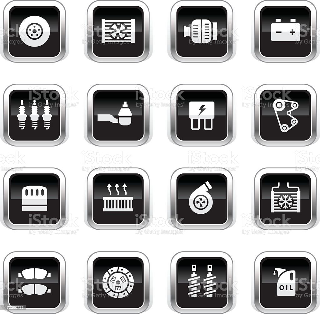 Supergloss Black Icons - Car Maintenance vector art illustration
