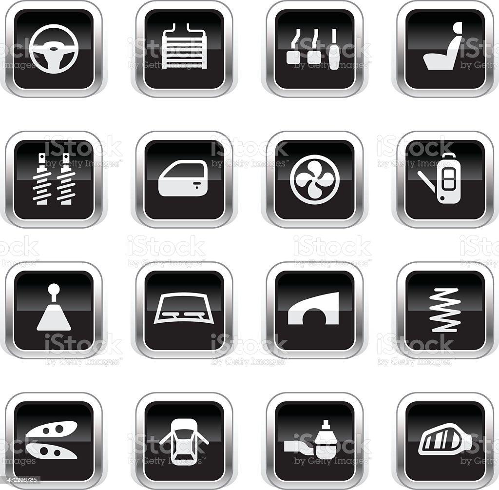 Supergloss Black Icons - Car Parts vector art illustration