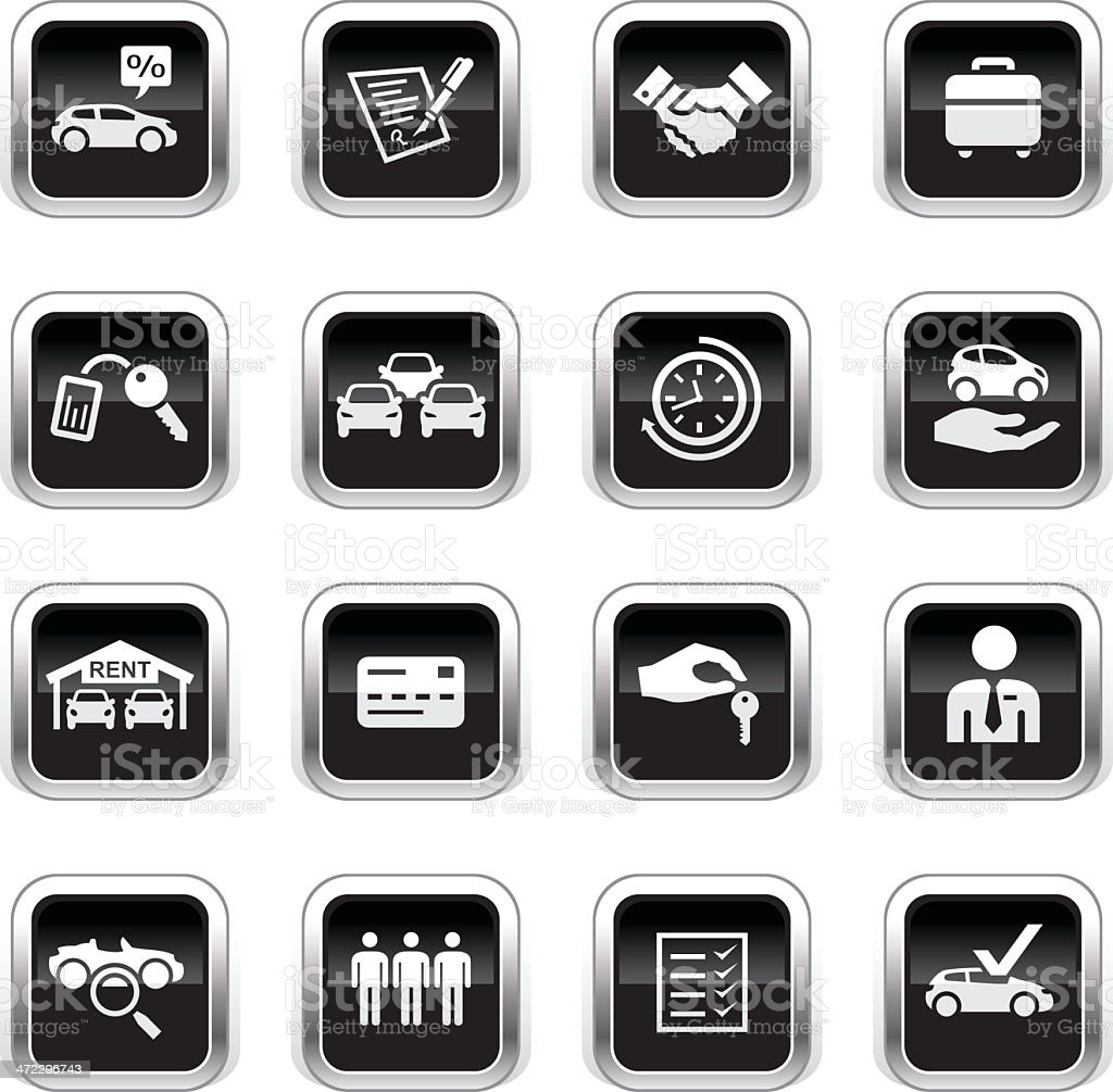 Supergloss Black Icons - Car Rental vector art illustration