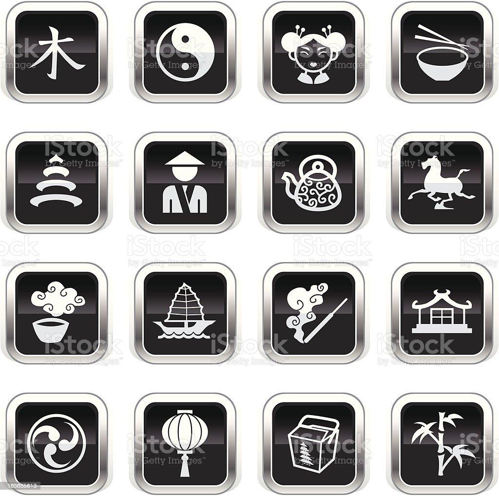 Supergloss Black Icons -  China royalty-free stock vector art