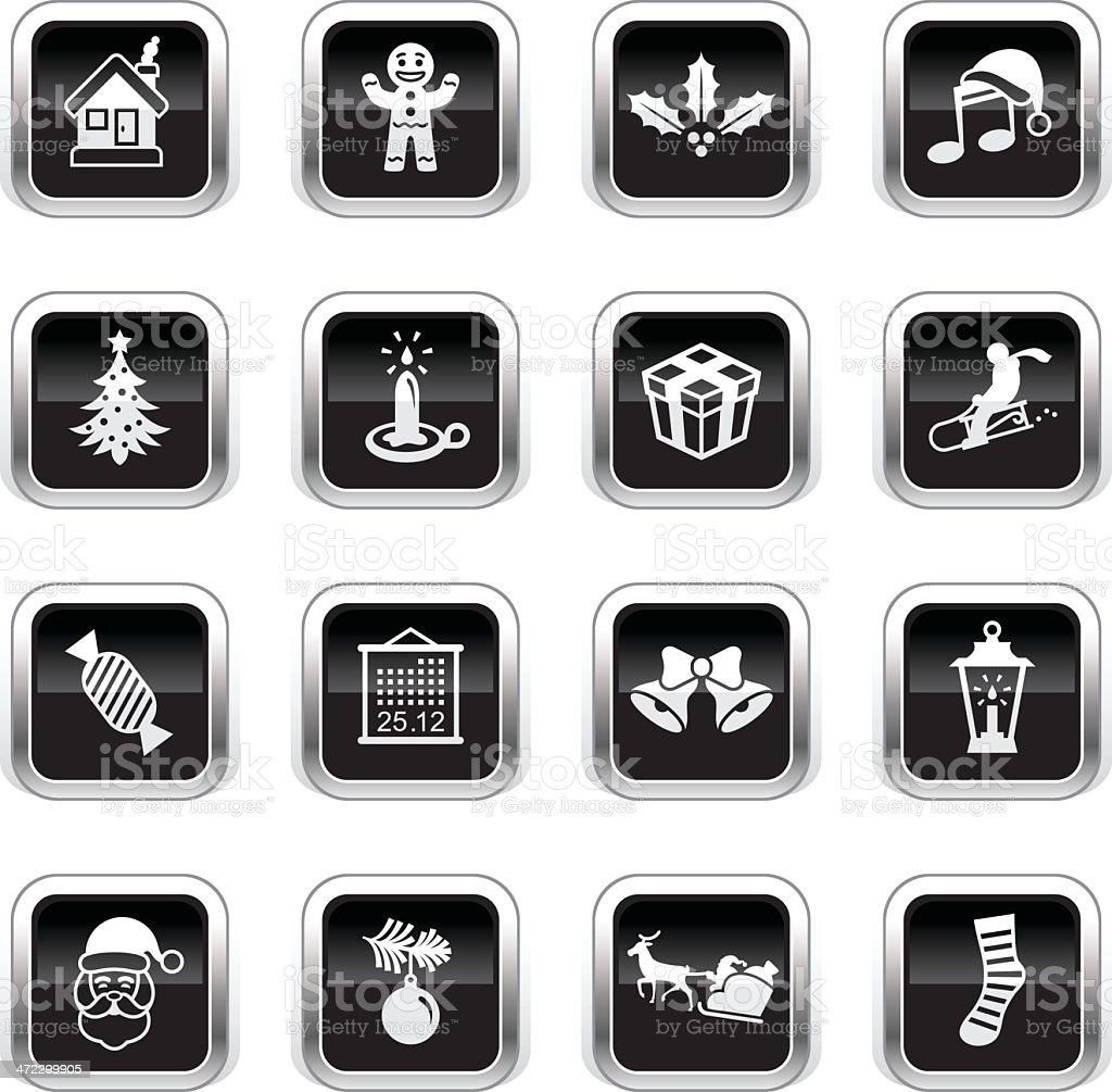Supergloss Black Icons - Christmas royalty-free stock vector art
