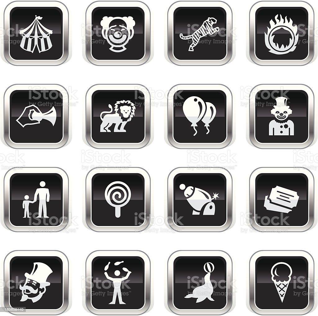 Supergloss Black Icons -  Circus royalty-free stock vector art