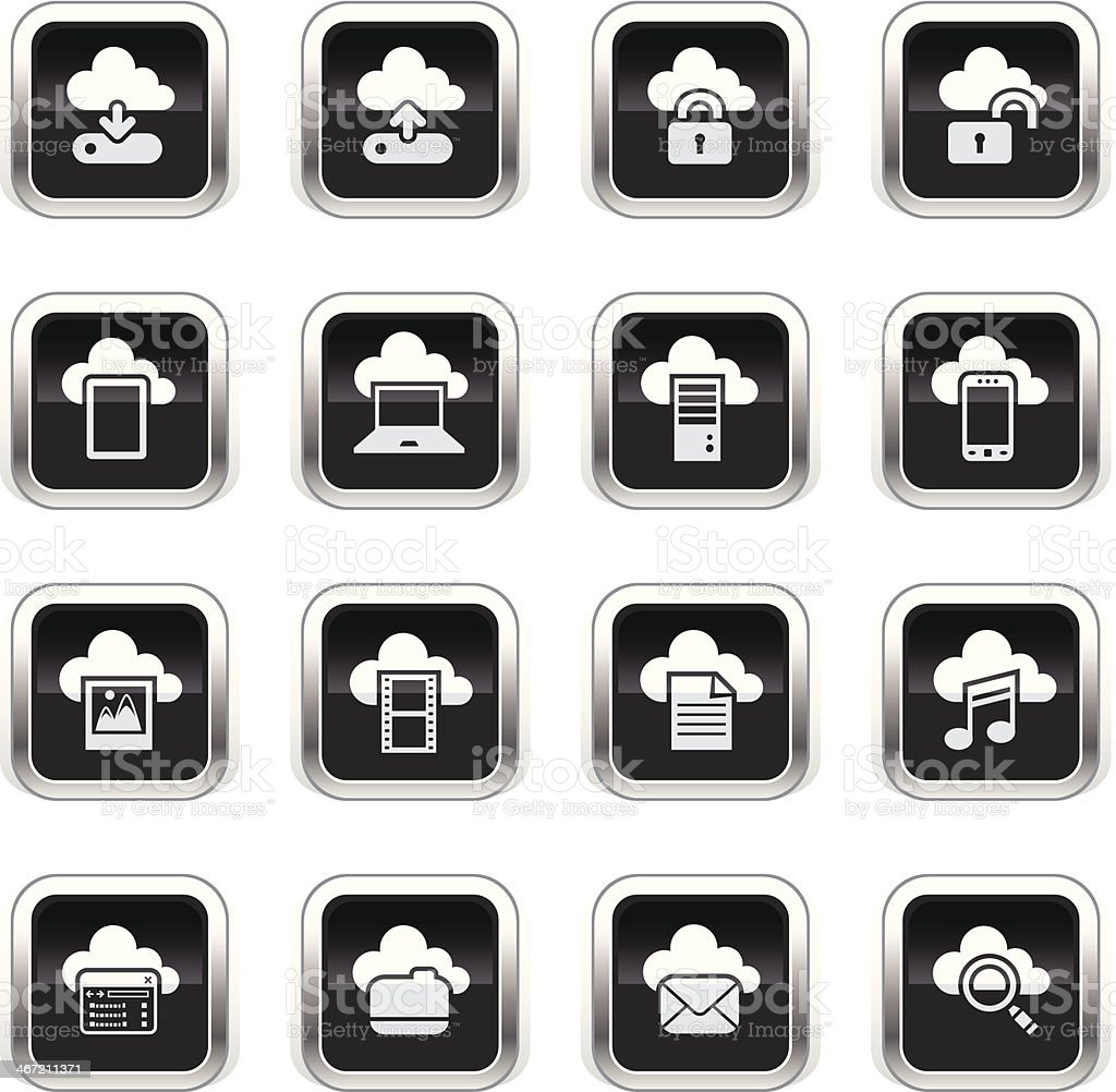 Supergloss Black Icons - Cloud Computing royalty-free stock vector art