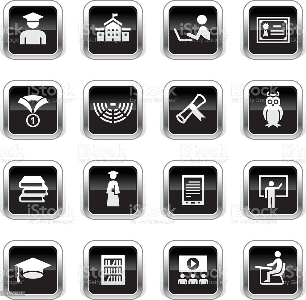 Supergloss Black Icons - College royalty-free stock vector art