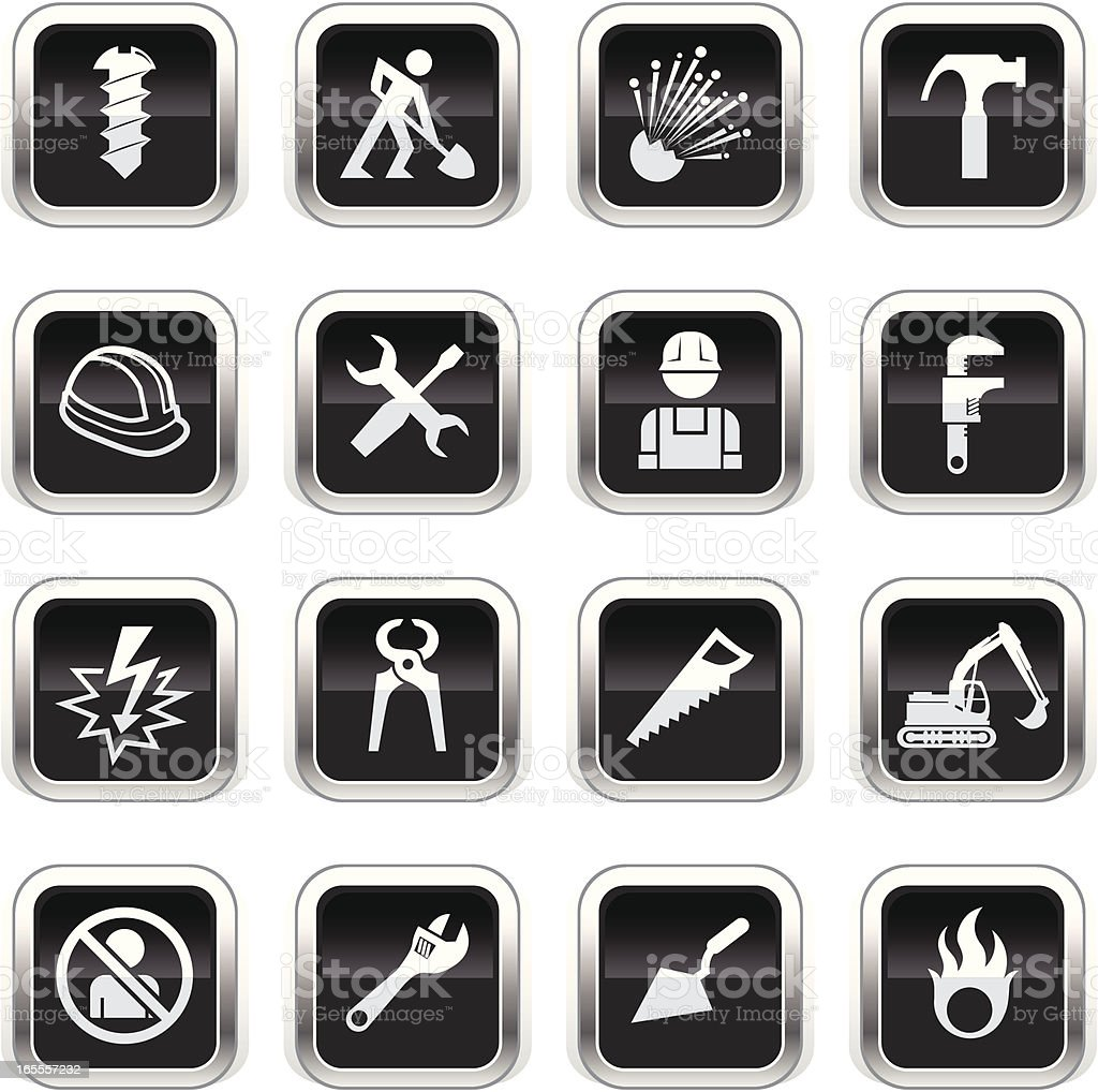 Supergloss Black Icons - Construction royalty-free stock vector art