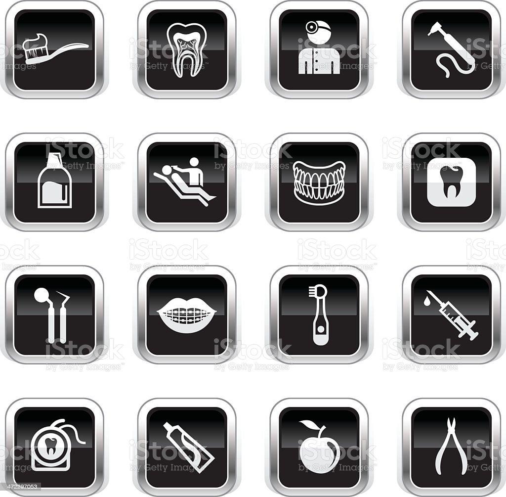 Supergloss Black Icons - Dental Care royalty-free stock vector art