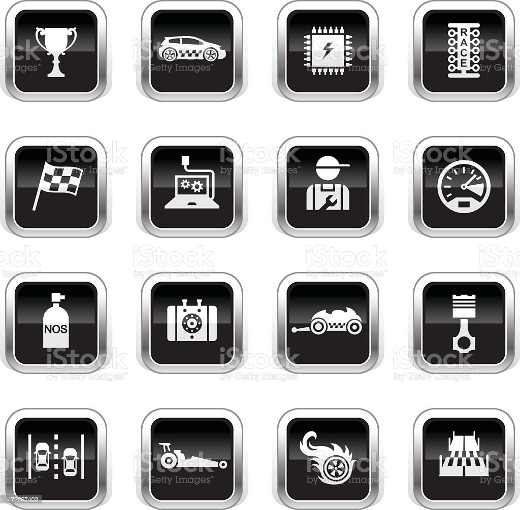 Supergloss Black Icons - Drag Racing vector art illustration