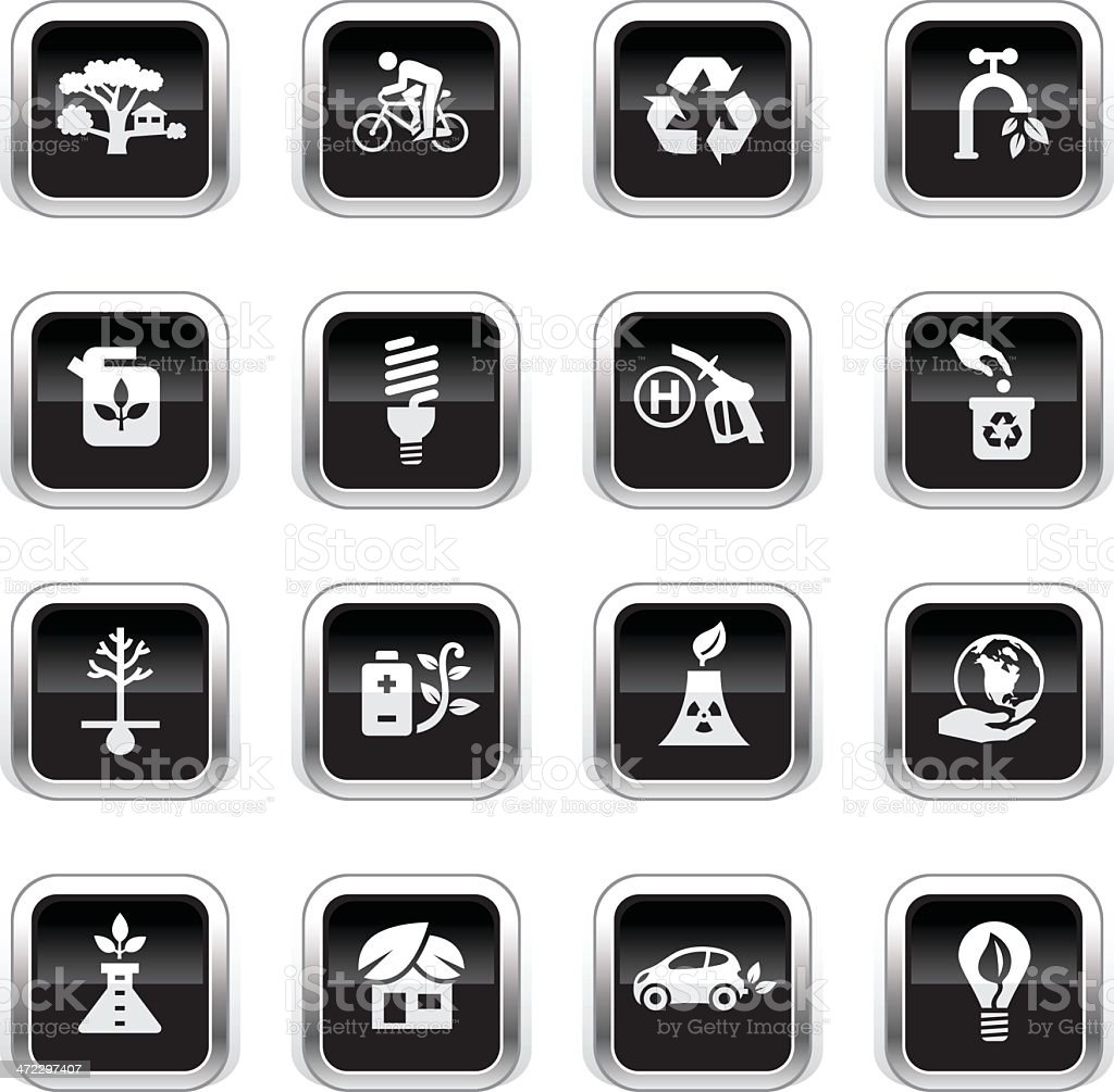 Supergloss Black Icons - Eco Friendly royalty-free stock vector art
