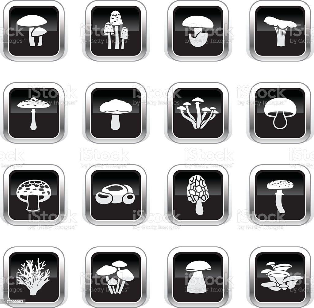 Supergloss Black Icons - Edible Mushrooms royalty-free stock vector art