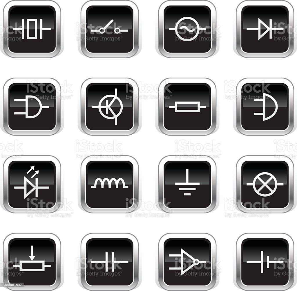 Supergloss Black Icons - Electronic Symbols vector art illustration