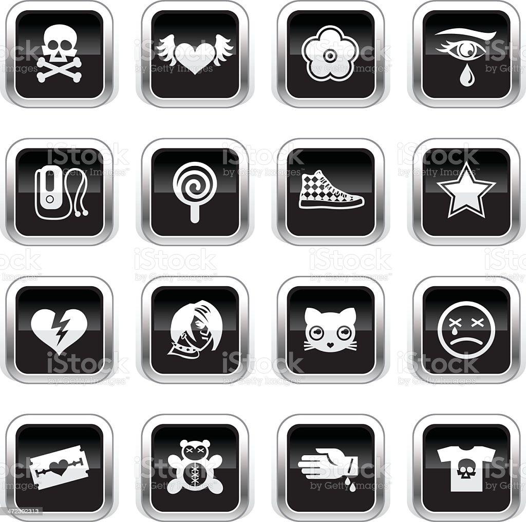 Supergloss Black Icons - Emo royalty-free stock vector art