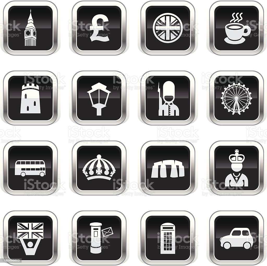 Supergloss Black Icons - England royalty-free stock vector art