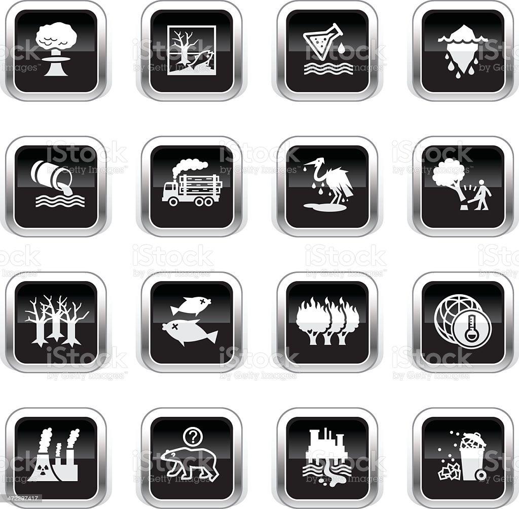 Supergloss Black Icons - Environmental Damage vector art illustration