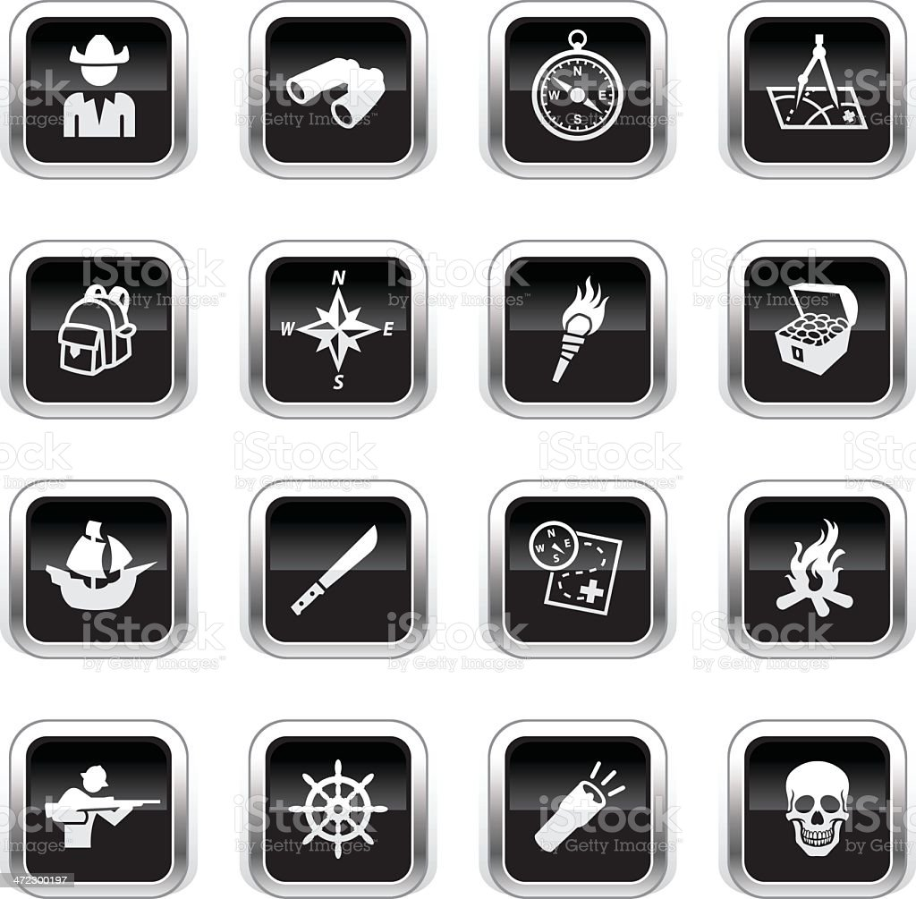 Supergloss Black Icons - Exploration vector art illustration