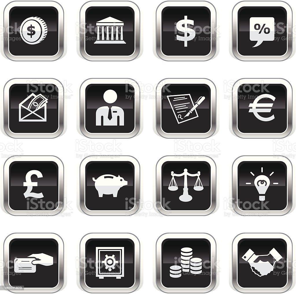 Supergloss Black Icons - Finance royalty-free stock vector art