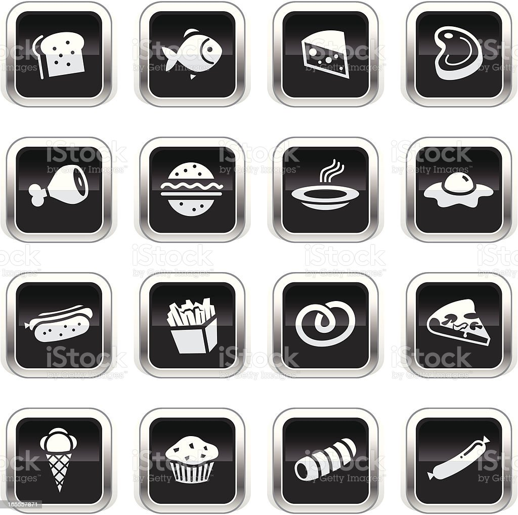 Supergloss Black Icons - Food royalty-free stock vector art