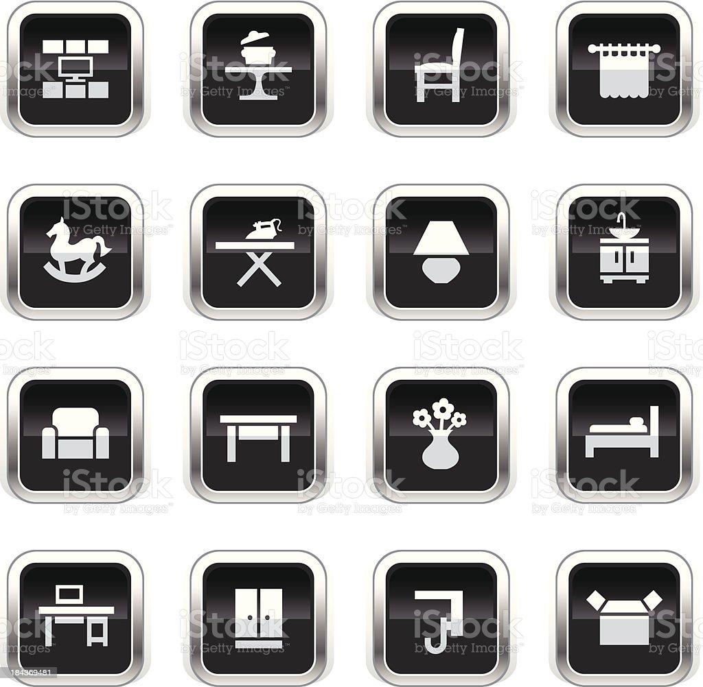 Supergloss Black Icons - Furniture Categories vector art illustration