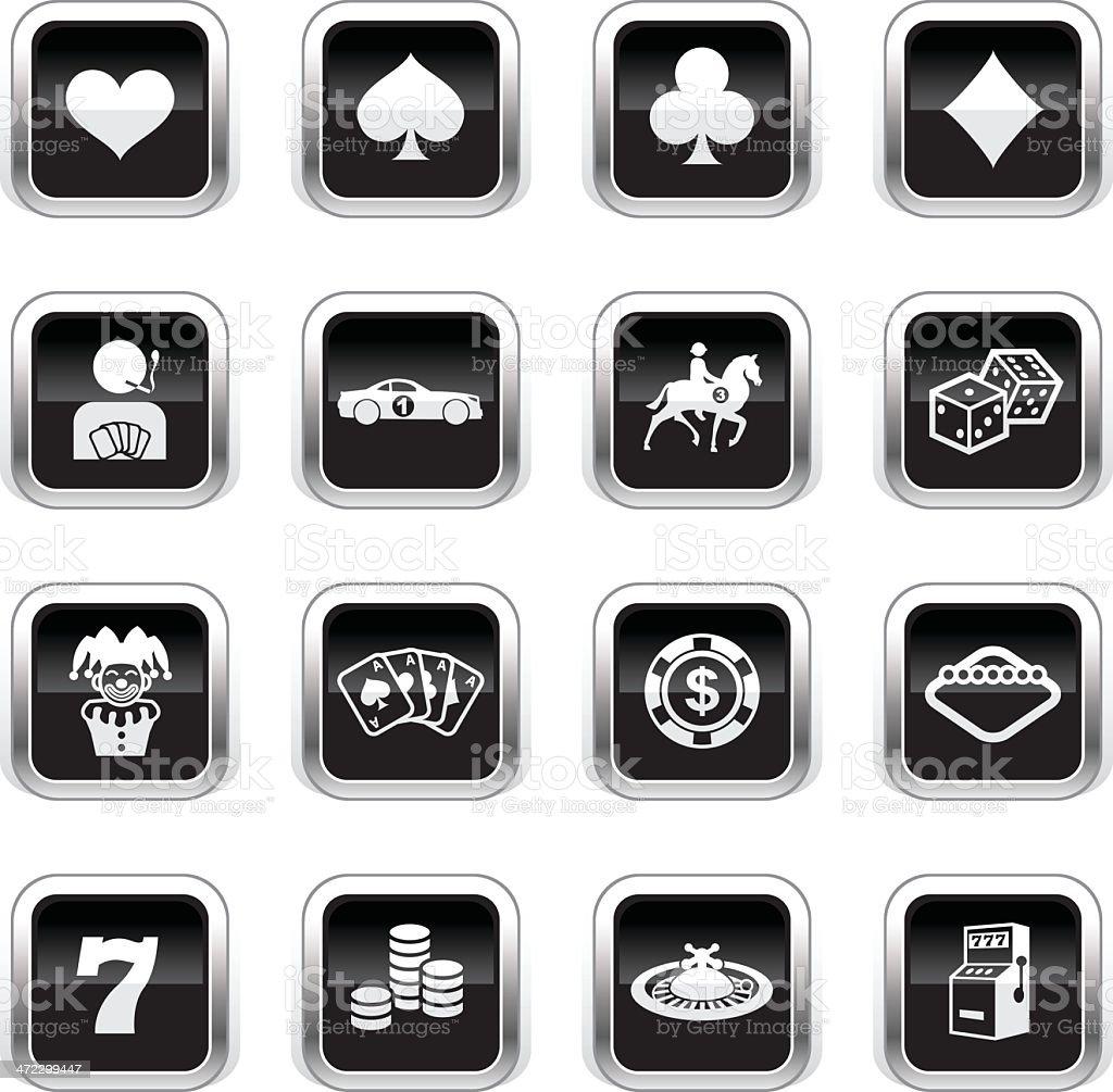 Supergloss Black Icons - Gambling royalty-free stock vector art