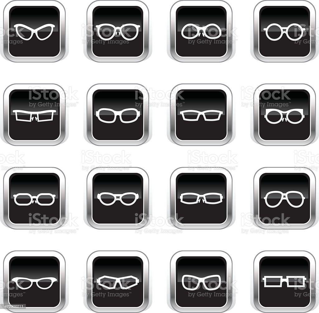 Supergloss Black Icons - Glasses royalty-free stock vector art