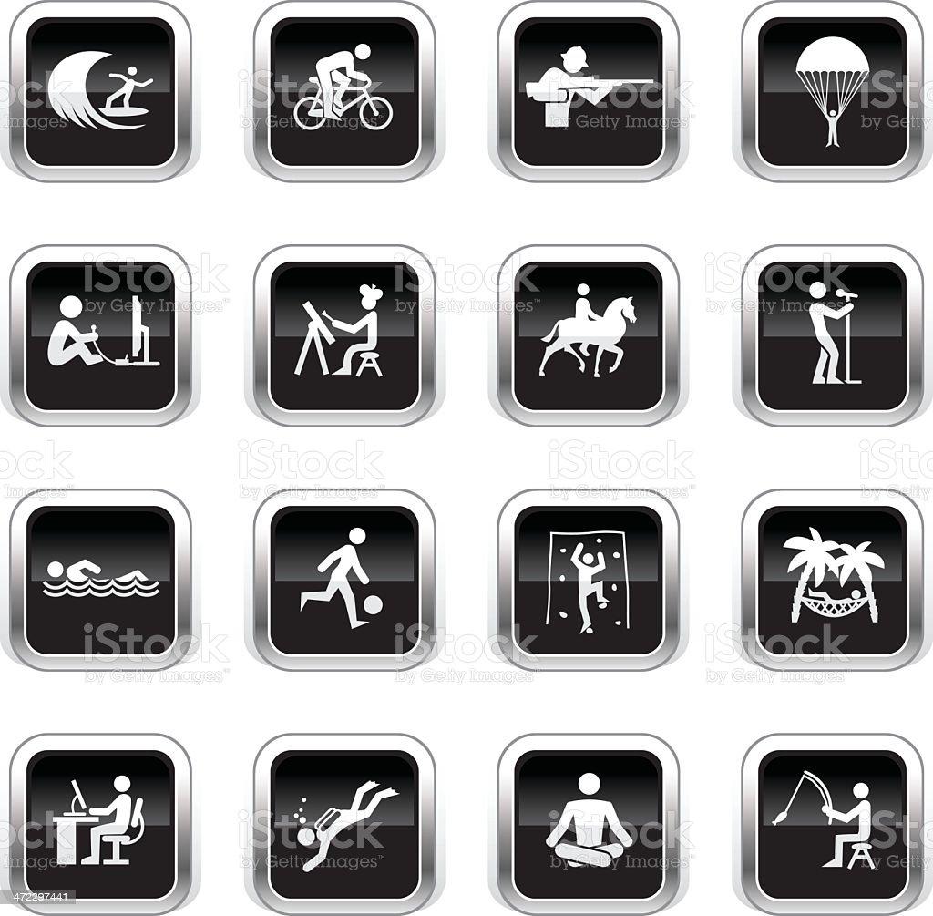 Supergloss Black Icons - Hobbies royalty-free stock vector art