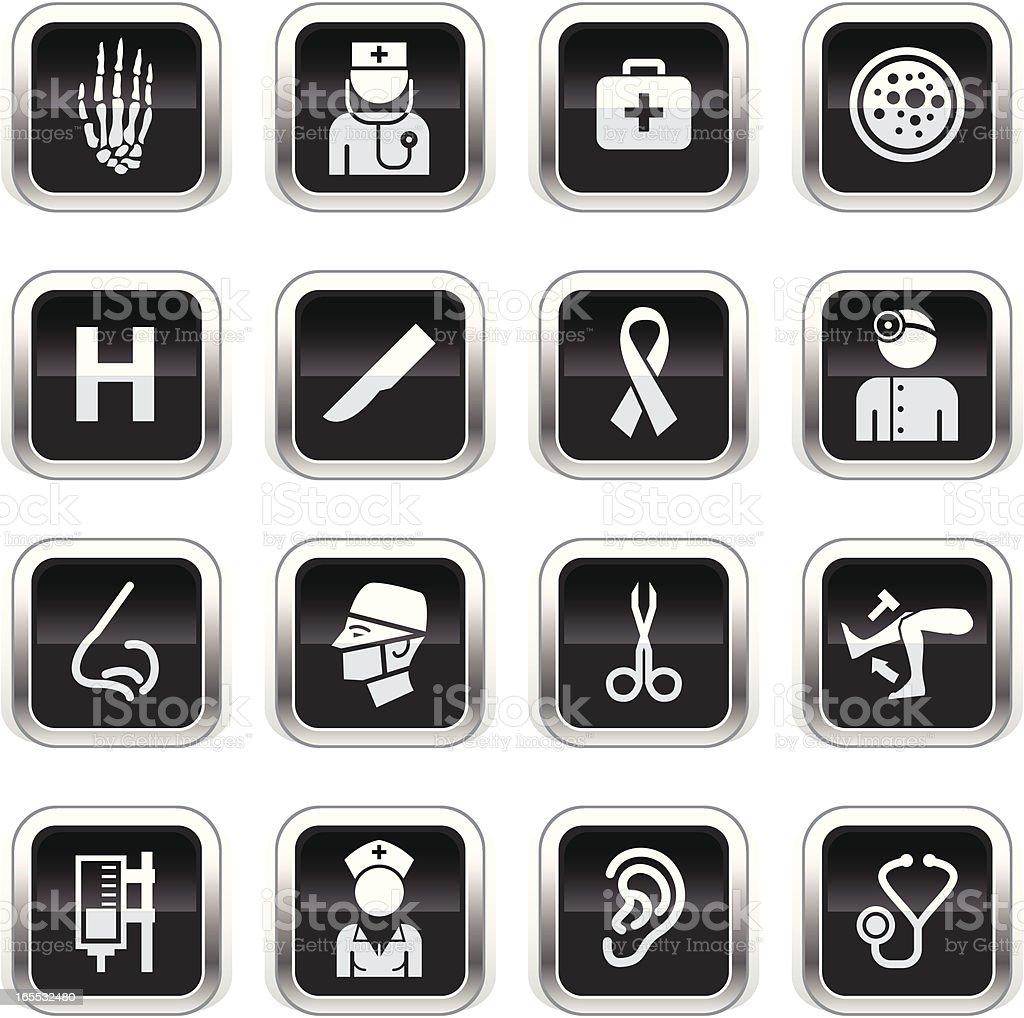 Supergloss Black Icons - Hospital vector art illustration