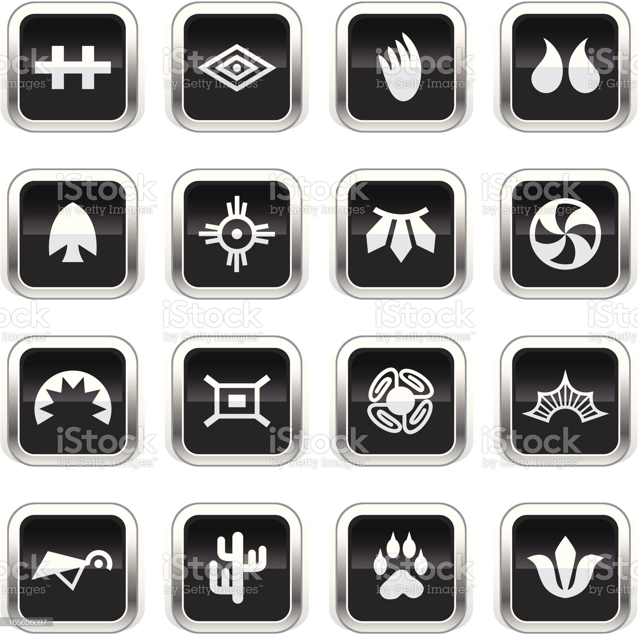 Supergloss Black Icons -  Indian Tribal royalty-free stock vector art