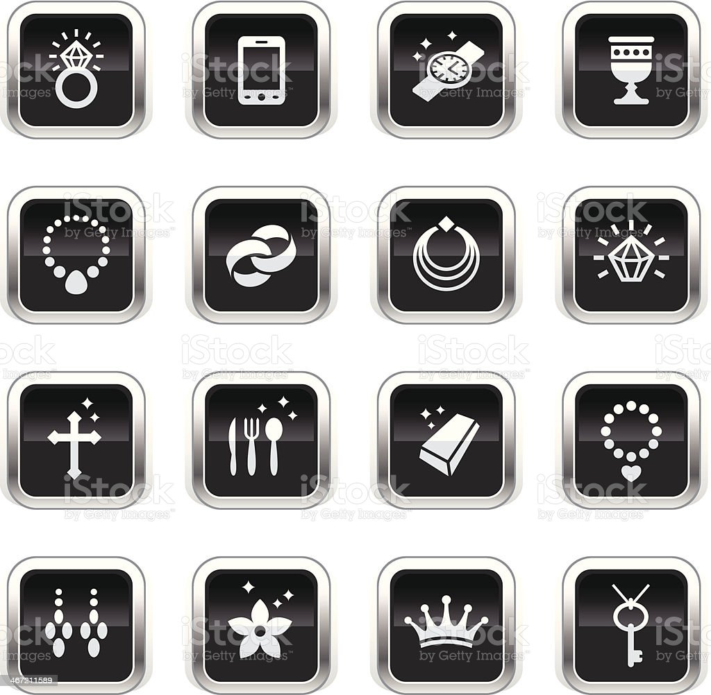 Supergloss Black Icons - Jewellery royalty-free stock vector art