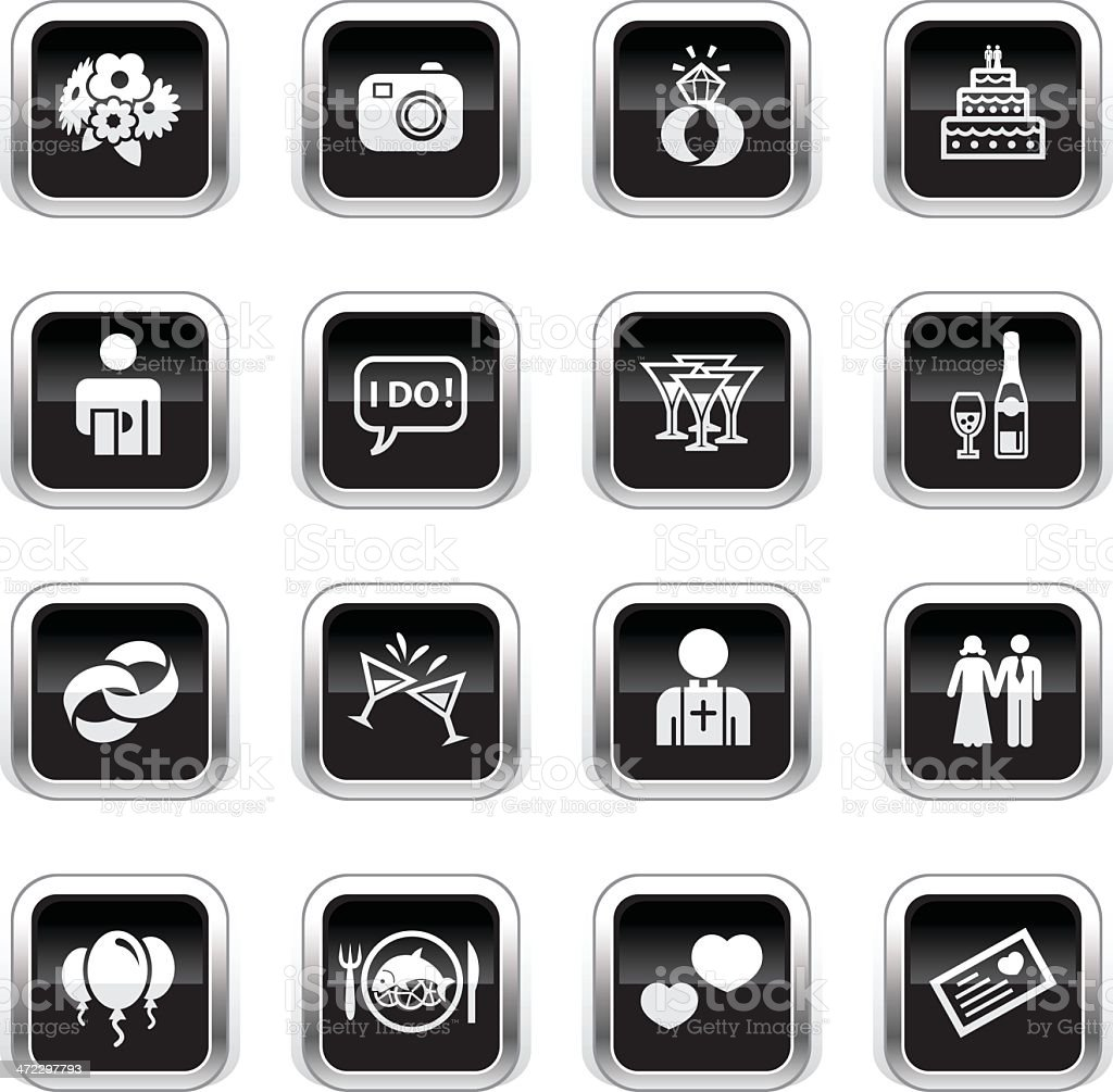 Supergloss Black Icons - Marriage vector art illustration