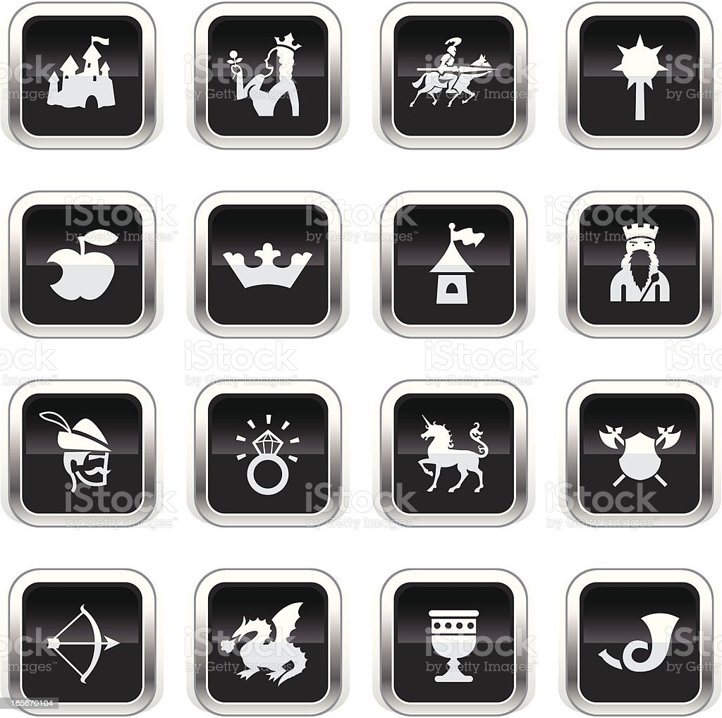 Supergloss Black Icons - Medieval Fairytale royalty-free stock vector art