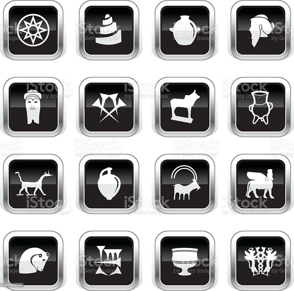 Supergloss Black Icons - Mesopotamia royalty-free stock vector art