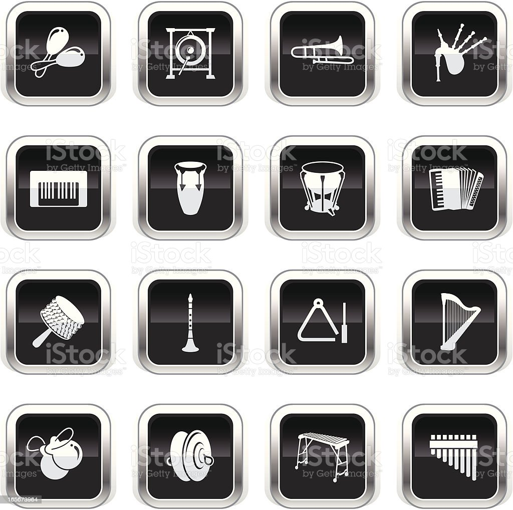 Supergloss Black Icons - Musical Instruments vector art illustration