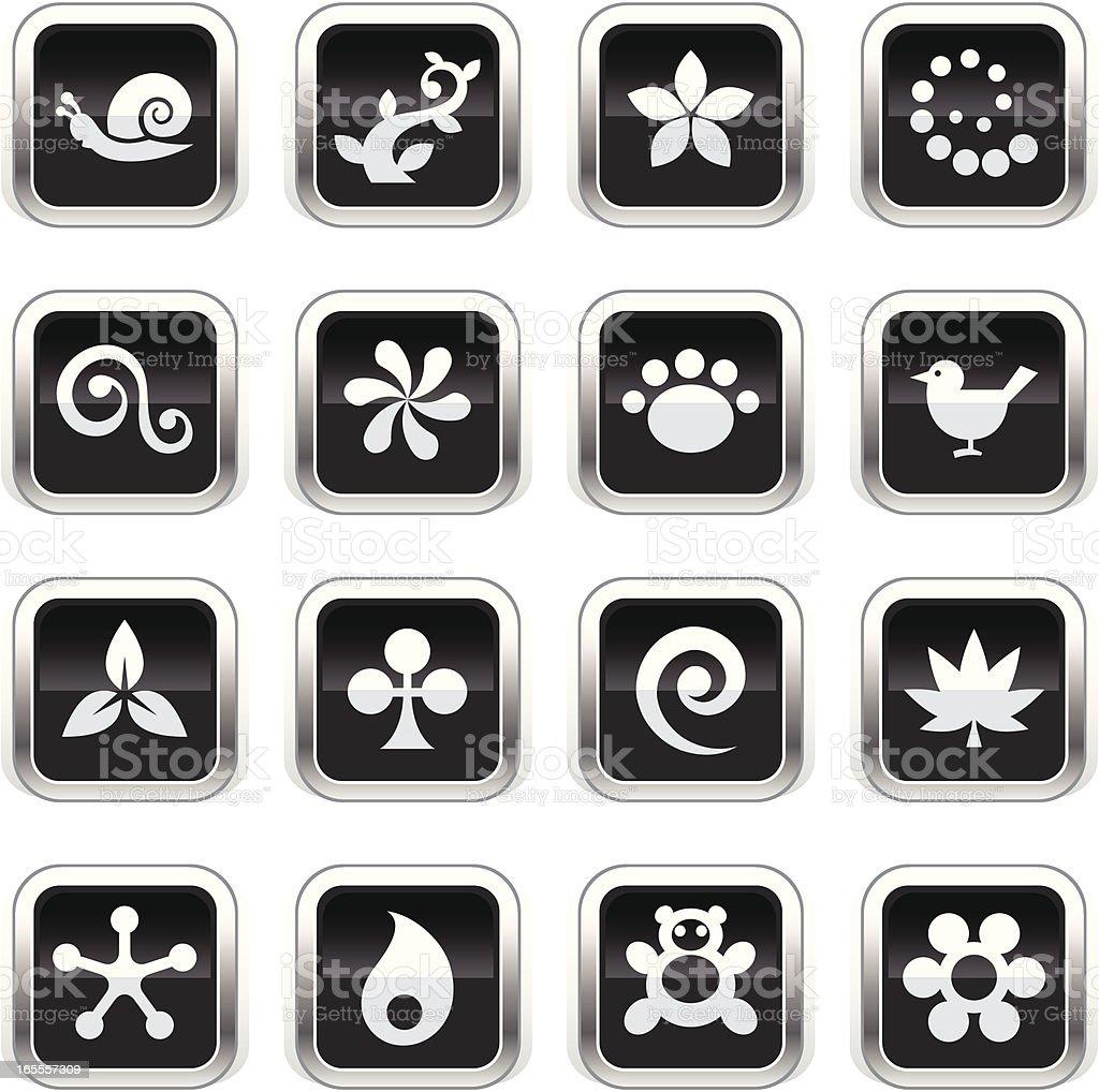 Supergloss Black Icons - Nature royalty-free stock vector art