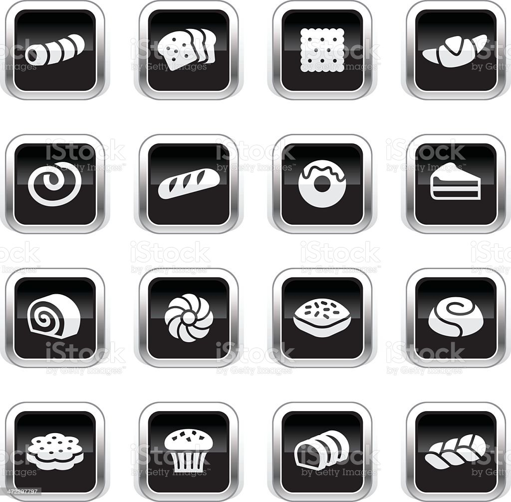 Supergloss Black Icons - Pastry royalty-free stock vector art