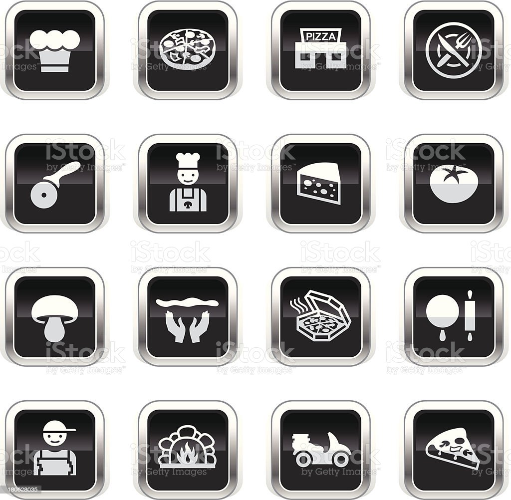 Supergloss Black Icons - Pizzeria royalty-free stock vector art
