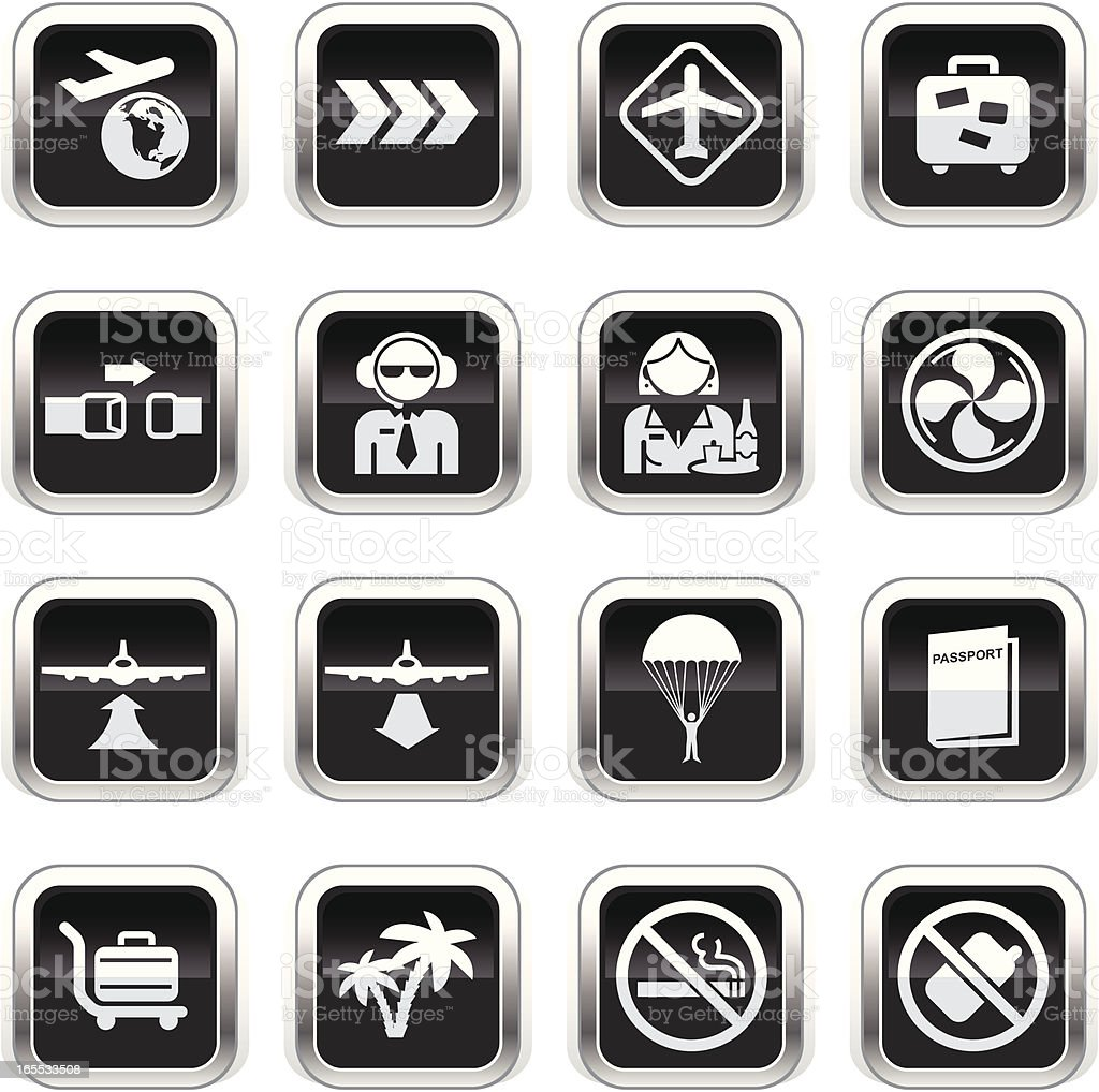 Supergloss Black Icons - Plane Travel royalty-free stock vector art