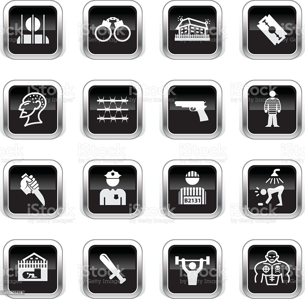 Supergloss Black Icons - Prison vector art illustration