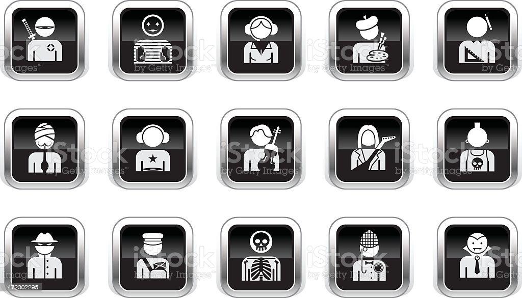 Supergloss Black Icons - Professions vector art illustration