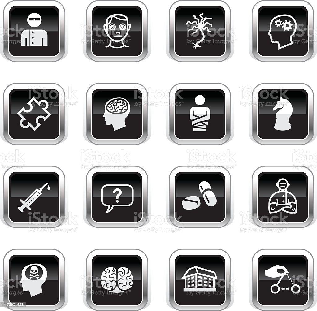 Supergloss Black Icons - Psychology & Psychiatry royalty-free stock vector art