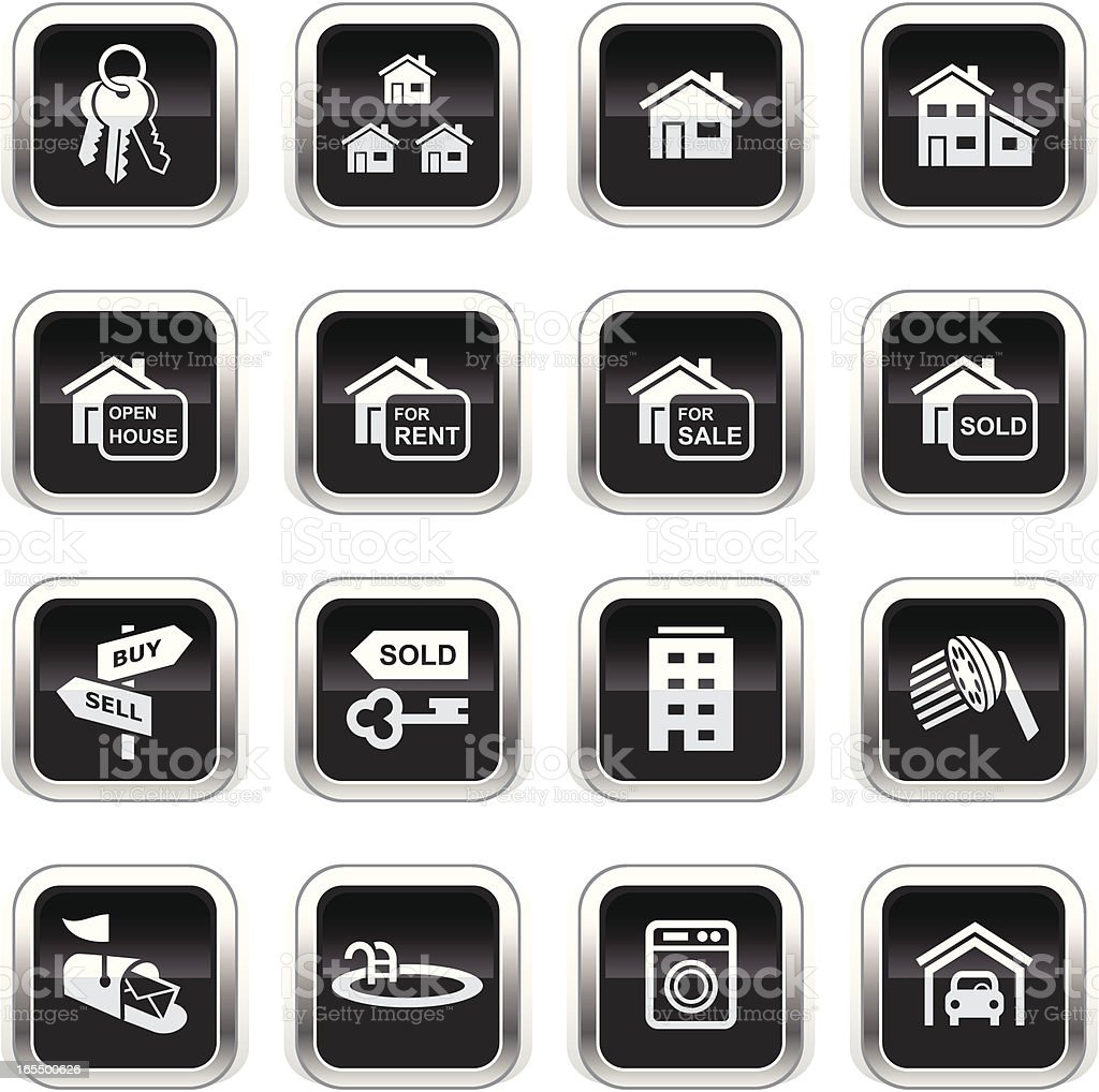 Supergloss Black Icons - Real Estate royalty-free stock vector art
