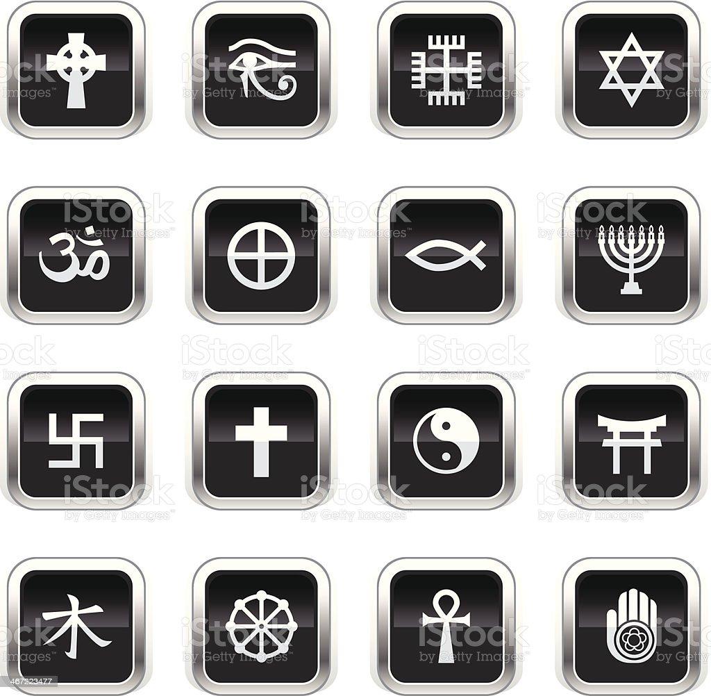 Supergloss Black Icons - Religious Symbols vector art illustration