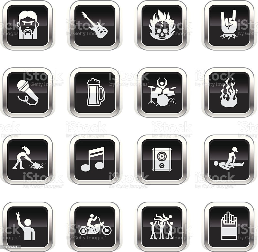 Supergloss Black Icons - Rock Star vector art illustration