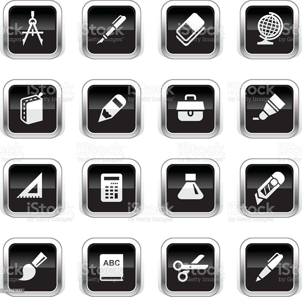 Supergloss Black Icons - School Supplies royalty-free stock vector art