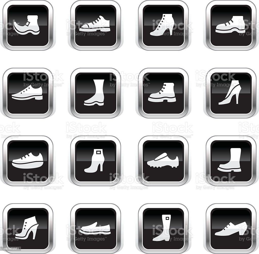 Supergloss Black Icons - Shoes vector art illustration