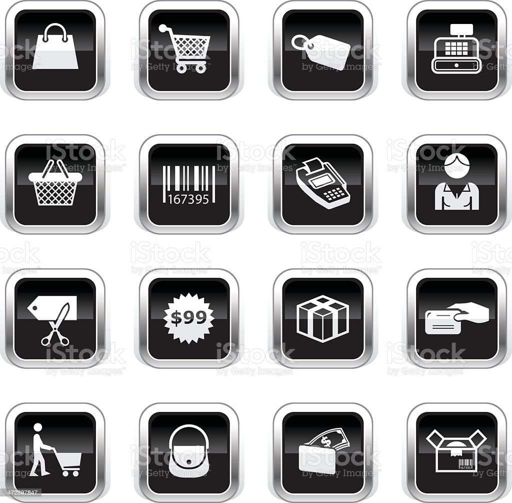 Supergloss Black Icons - Shopping royalty-free stock vector art