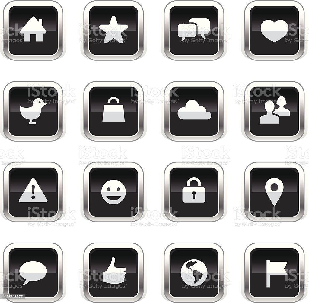 Supergloss Black Icons - Social Network royalty-free stock vector art