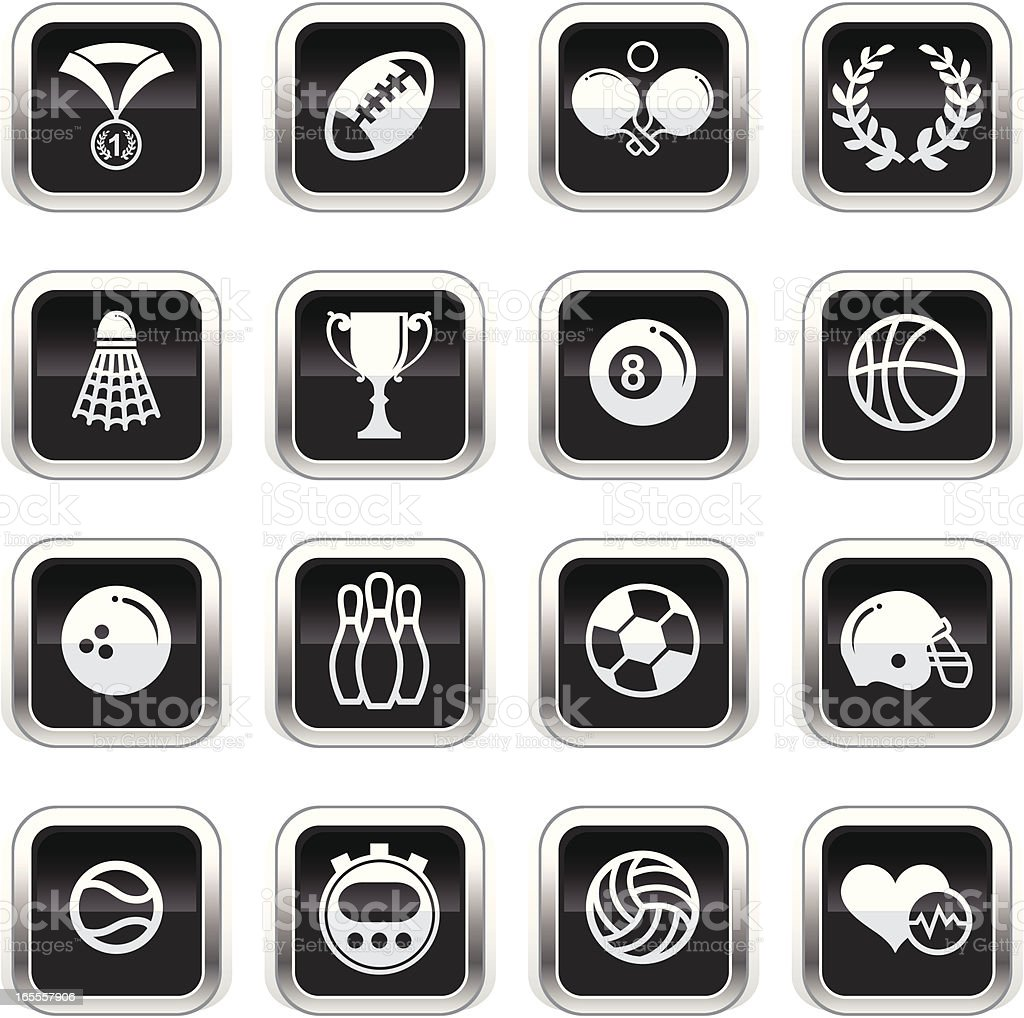 Supergloss Black Icons - Sports royalty-free stock vector art