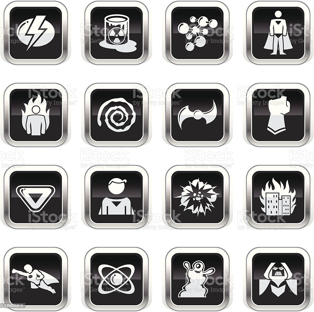 Supergloss Black Icons - Superhero royalty-free stock vector art