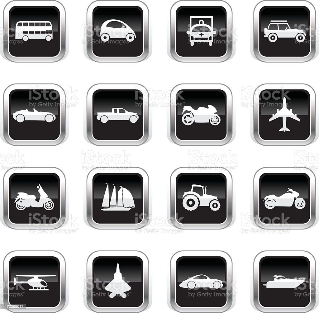 Supergloss Black Icons - Transportation vector art illustration